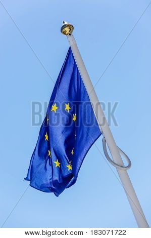 Flag At Half-mast Illustrating A Fall Of European Union