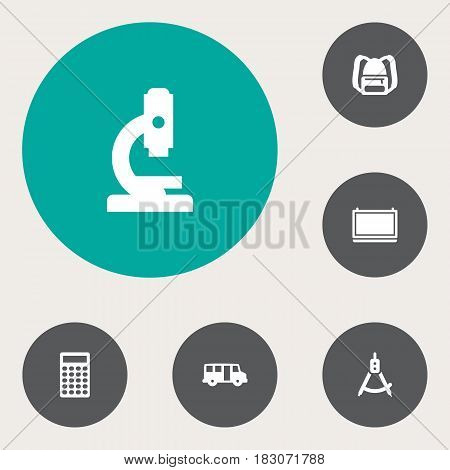 Set Of 6 Studies Icons Set.Collection Of Rucksack, Blackboard, Calculate And Other Elements.