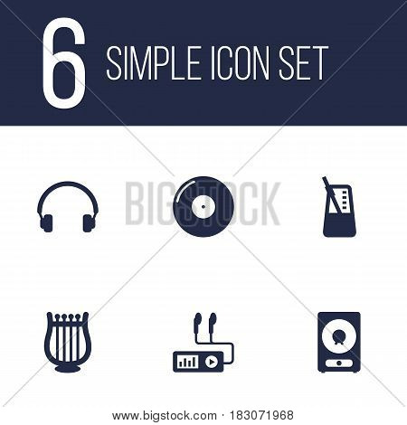 Set Of 6 Music Icons Set.Collection Of Earphones, Retro Disc, Rhythm Motion And Other Elements.
