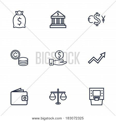 Set Of 9 Budget Outline Icons Set.Collection Of Exchange, Justice, Moneybag And Other Elements.