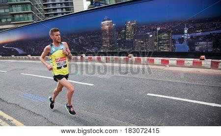 LONDON - APRIL 23, 2017: Mellor, Johny runs in the Virgin Money London Marathon on April 23, 2017 in Isle of Dogs.