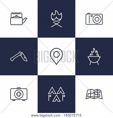 Set Of 9 Outdoor Outline Icons Set.Collection Of Place Pointer, Photographing, Medical Kit And Other Elements.