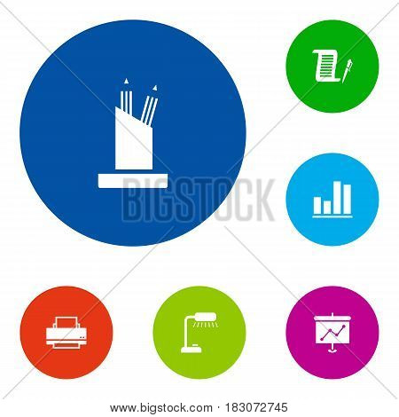 Set Of 6 Bureau Icons Set.Collection Of Presentation, Pencil Stand, Table Lighter Elements.