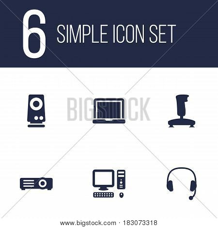 Set Of 6 Notebook Icons Set.Collection Of Headset, Amplifier, Laptop And Other Elements.