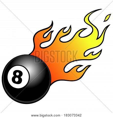 A vector illustration of an blazing 8 ball.