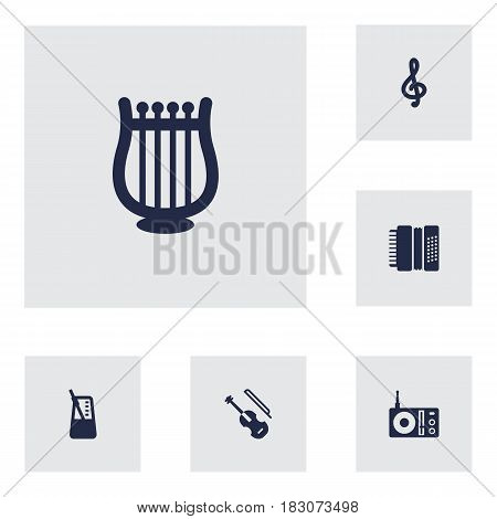 Set Of 6 Music Icons Set.Collection Of Lyre, Quaver, Harmonica And Other Elements.