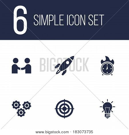 Set Of 6 Startup Icons Set.Collection Of Rocket, Time In Fire, Bulb And Other Elements.