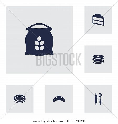 Set Of 6 Bakery Icons Set.Collection Of Pastry, Whisk, Dessert And Other Elements.