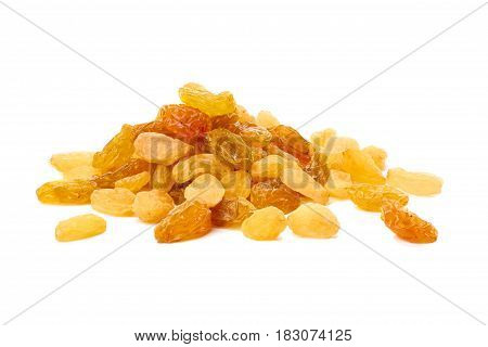 Heap of golden raisins isolated on white background