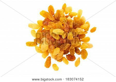 Heap of golden raisins isolated on white background. Top view