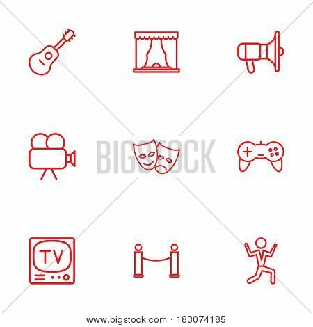 Set Of 9 Entertainment Outline Icons Set.Collection Of Barrier Rope, Dancing Man, Masks And Other Elements.
