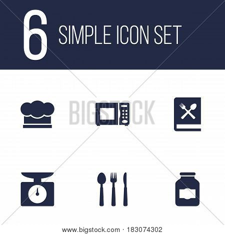 Set Of 6 Culinary Icons Set.Collection Of Electronic Oven, Silverware, Jar And Other Elements.