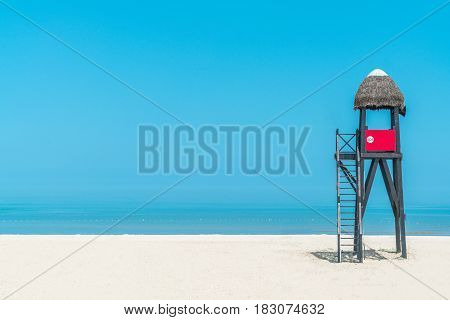 Lifeguard tower on beach palm roof, china