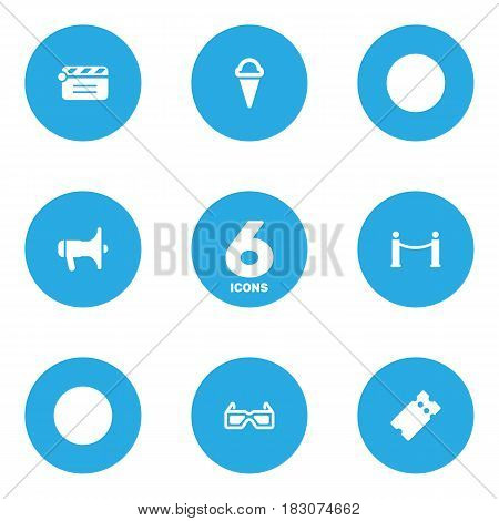 Set Of 6 Amusement Icons Set.Collection Of Cinema Fence, Megaphone, Pass And Other Elements.