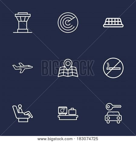 Set Of 9 Aircraft Outline Icons Set.Collection Of Luggage Check, No Smoking, Control Tower And Other Elements.