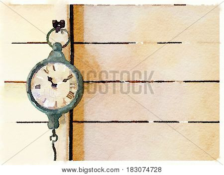 Digital watercolor painting of a hanging clock with Roman numbers on a wooden background and space for text.