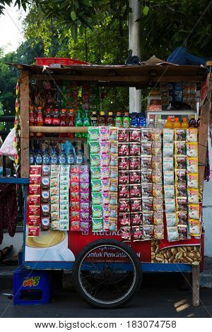 Jakarta, Indonesia - september 9, 2015: Indonesian groceries stall in Jakarta, Indonesia