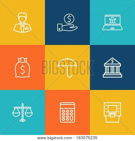 Set Of 9 Budget Outline Icons Set.Collection Of Calculator, Justice, Savings And Other Elements.