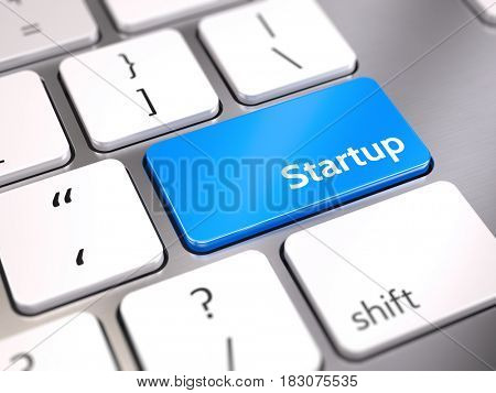 Blue startup button on keyboard - start up concept. 3d render
