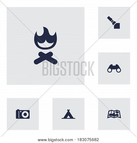 Set Of 6 Camping Icons Set.Collection Of Tent, Optical Zoom, Campfire And Other Elements.