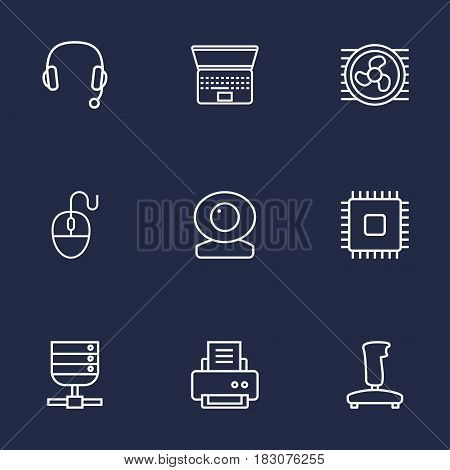 Set Of 9 Laptop Outline Icons Set.Collection Of Cpu, Cooler, Laptop And Other Elements.