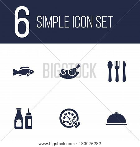 Set Of 6 Restaurant Icons Set.Collection Of Tray, Catsup, Silverware And Other Elements.
