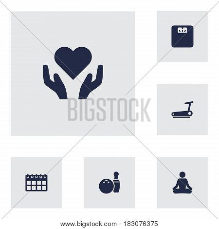 Set Of 6 Bodybuilding Icons Set.Collection Of Heart In Hand, Kegling, Body Balance Elements.