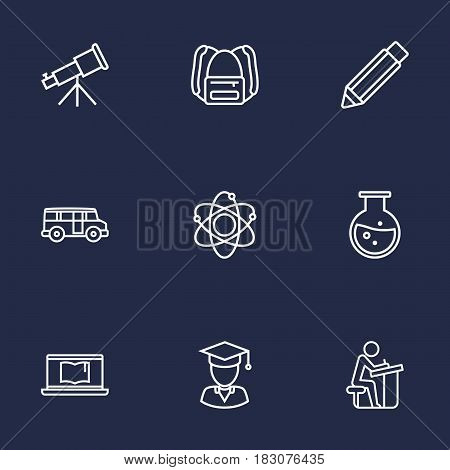Set Of 9 Education Outline Icons Set.Collection Of Test Tube, Backpack, Graduated And Other Elements.