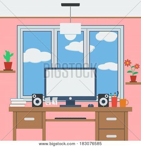 Home computer workspace flat design style vector illustration