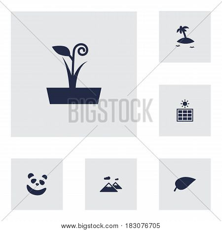 Set Of 6 Environment Icons Set.Collection Of Isle Beach, Solar Panel, Pinnacle And Other Elements.