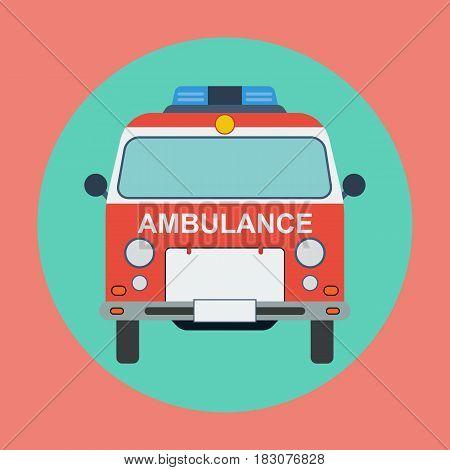 Ambulance car flat design style vector illustration