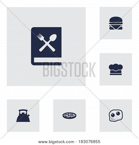 Set Of 6 Culinary Icons Set.Collection Of Eggs, Pepperoni, Chef Cap And Other Elements.