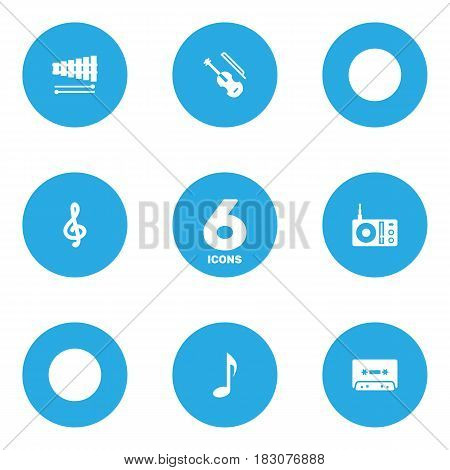 Set Of 6 Song Icons Set.Collection Of Tape, Percussion, Fiddle And Other Elements.