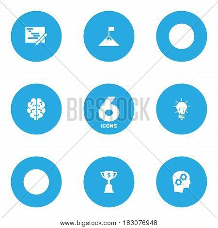Set Of 6 Idea Icons Set.Collection Of Thinking Head, Goblet, Bulb And Other Elements.