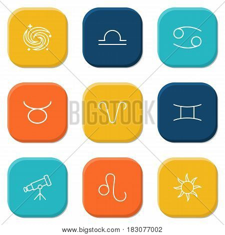 Set Of 9 Galaxy Outline Icons Set.Collection Of Gemini, Taurus, Telescope And Other Elements.