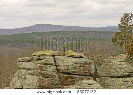 Searching across the canyon in Garden of the Gods in Shawnee National Forest in Illinois