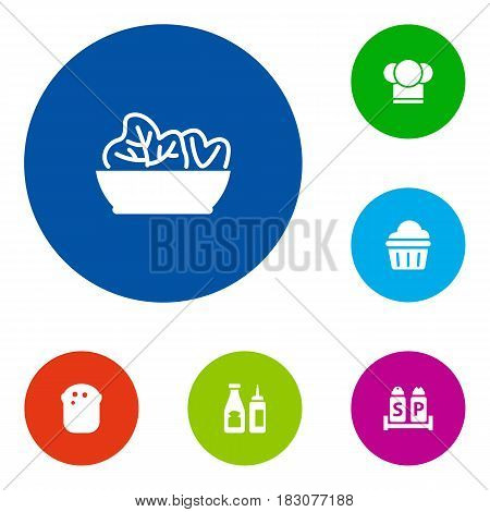 Set Of 6 Bar Icons Set.Collection Of Food, Catsup, Chef And Other Elements.