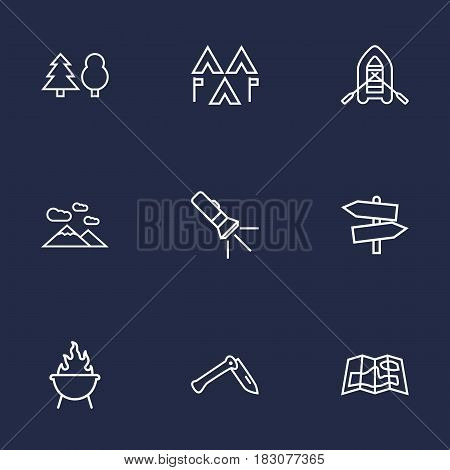 Set Of 9 Adventure Outline Icons Set.Collection Of Mountains, Guidepost, Pocket Torch And Other Elements.
