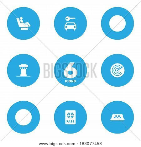 Set Of 6 Aircraft Icons Set.Collection Of Passport, Cab, Air Traffic Controller And Other Elements.