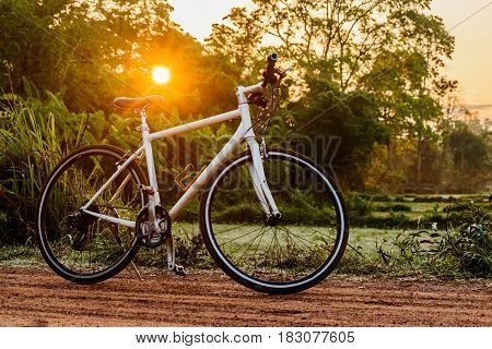 Bike on the dirt road in the morning sun.