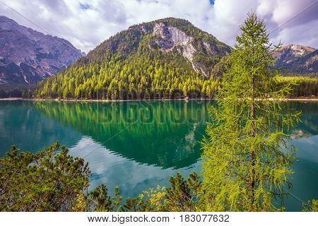 Magnificent lake Lago di Braies. South Tyrol, Italy. The concept of walking and eco-tourism. Green expanse of water reflects the surrounding mountains and forest