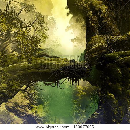 3D Illustration of landscape where you can see rock formations and vegetation with mountains in the background shrouded it haze