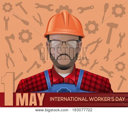 Labor Day poster with worker man on the background of tools. Happy International Workers Day. 1 May. May Day. Labor Day. Vector illustration