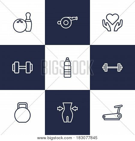 Set Of 9 Training Outline Icons Set.Collection Of Dumbbell, Health Care, Kettlebells And Other Elements.