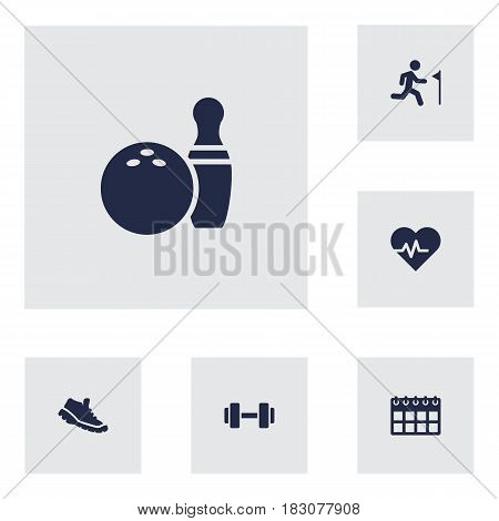 Set Of 6 Bodybuilding Icons Set.Collection Of Kegling, Date, Running And Other Elements.