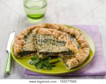 cake with ham and spinach, selective focus