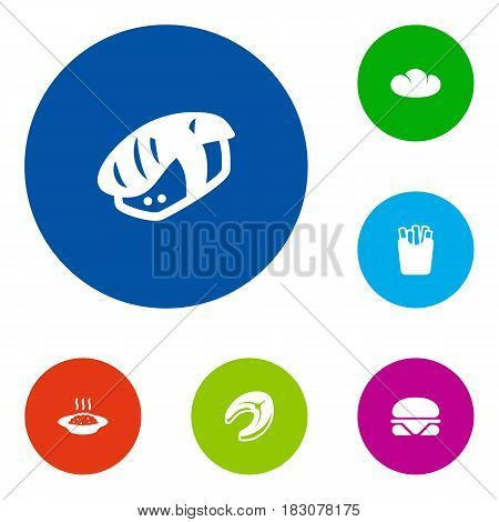Set Of 6 Food Icons Set.Collection Of Potato, Seafood, Baguette And Other Elements.