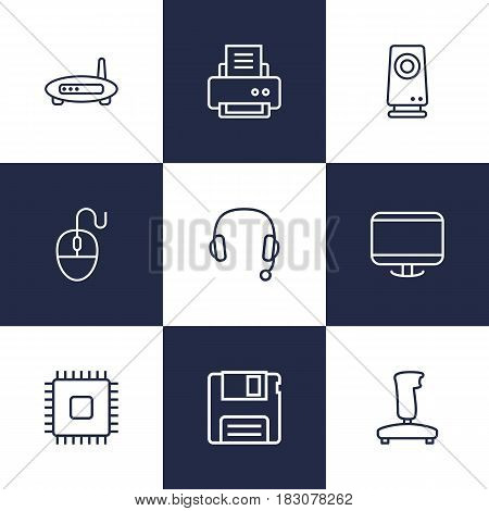 Set Of 9 Computer Outline Icons Set.Collection Of Monitor, Speaker, Cpu And Other Elements.