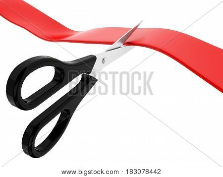 3D Red Ribbon Cutting Ceremony