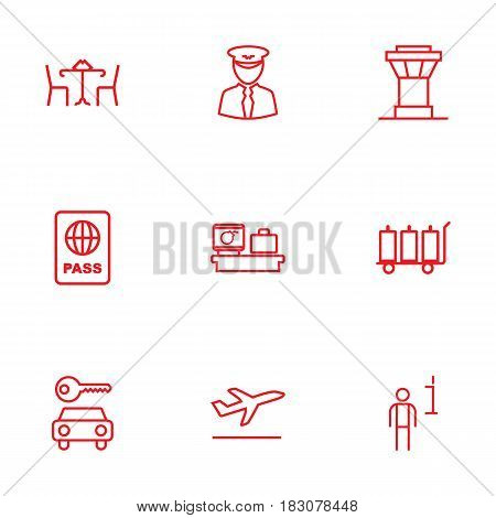 Set Of 9 Aircraft Outline Icons Set.Collection Of Flight, Luggage Check, Luggage Trolley And Other Elements.